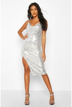 Silver Sequin Cowl Neck Side Split Midi Dress