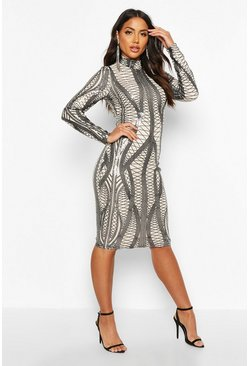 Womens Black Mesh Sequin High Neck Long Sleeve Midi Dress