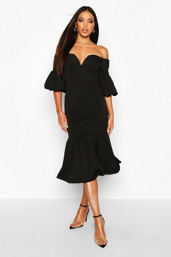 Black Plunge Puff Sleeve Frill Hem Midi Dress