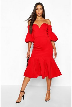 Red Plunge Puff Sleeve Frill Hem Midi Dress