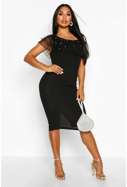 Black Pearl Mesh One Shoulder Midi Dress