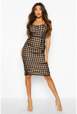 Womens Black Check Mesh Cupped Midi Dress
