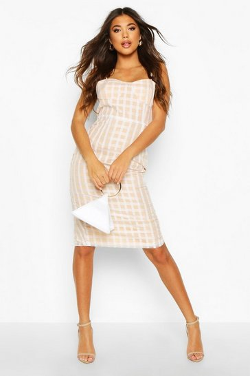 Womens White Check Mesh Cupped Midi Dress
