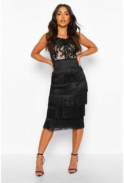 Womens Black Sequin Lace Tassel Detail Midi Dress