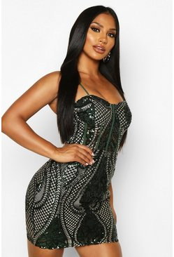 Dam Bottle Sequin Lace Mesh Cupped Midi Dress