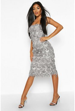 Womens Silver Sequin Tassel Bandeau Midi Dress