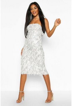 Womens White Sequin Tassel Bandeau Midi Dress