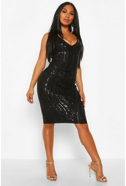 Womens Black Sequin Panelled Midi Dress