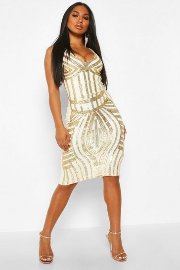 Womens Gold Sequin Panelled Midi Dress