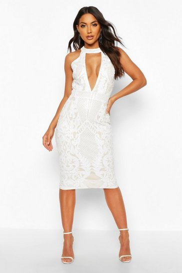 Womens White Sequin Plunge Halterneck Midi Dress