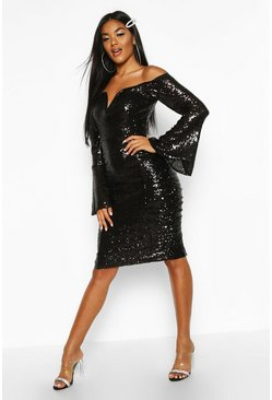 Womens Black Sequin Flare Sleeve Rouched Side Midi Dress