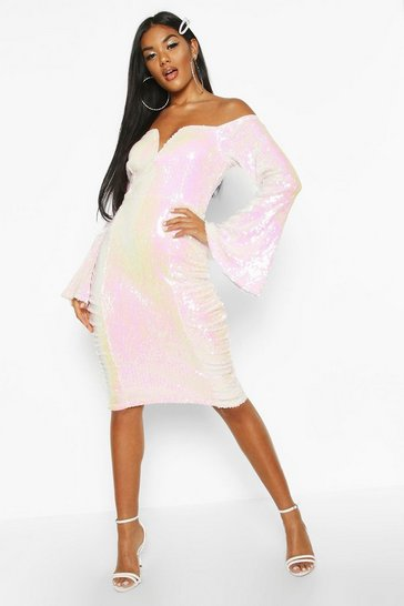 Womens White Sequin Flare Sleeve Rouched Side Midi Dress