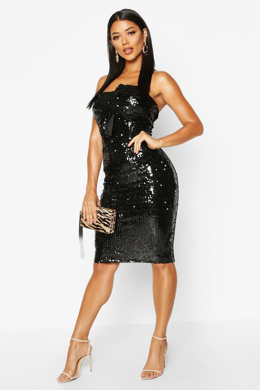 Sequin Bow Midi Dress, Black