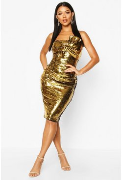 Womens Gold Sequin Bow Midi Dress