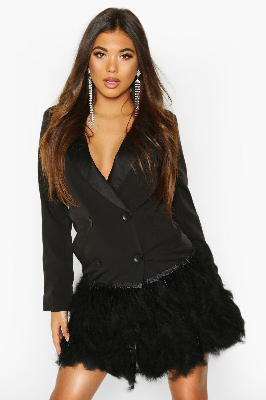 womens feather detail blazer dress - black - 8