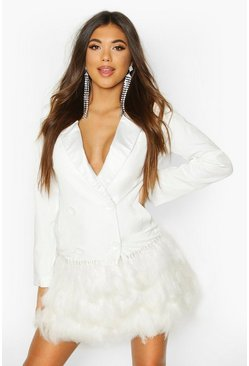 Ivory Feather Detail Blazer Dress