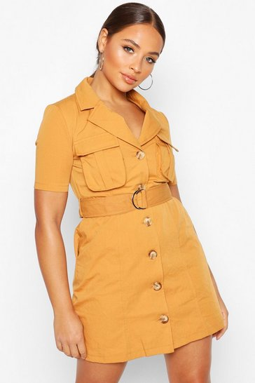 Rust Woven Utility Pocket Blazer Dress