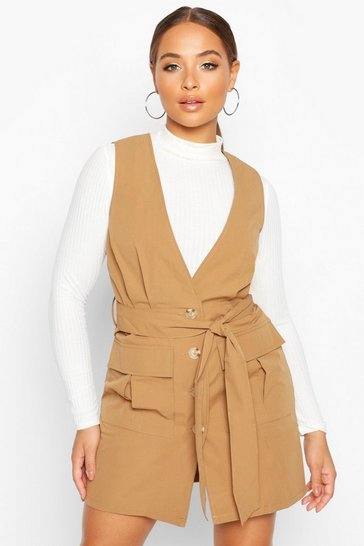Camel Woven Plunge Double Pocket Utility Blazer Dress