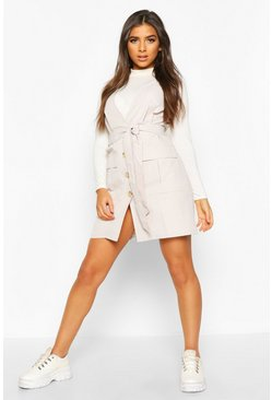 Stone Woven Plunge Double Pocket Utility Blazer Dress