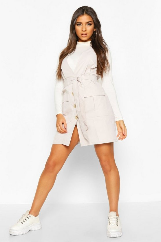 Woven Plunge Double Pocket Utility Blazer Dress