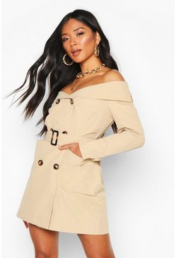 Stone Woven Trench Coat Blazer Dress