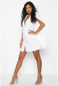Womens White Woven Double Breasted Cap Detail Blazer Dress