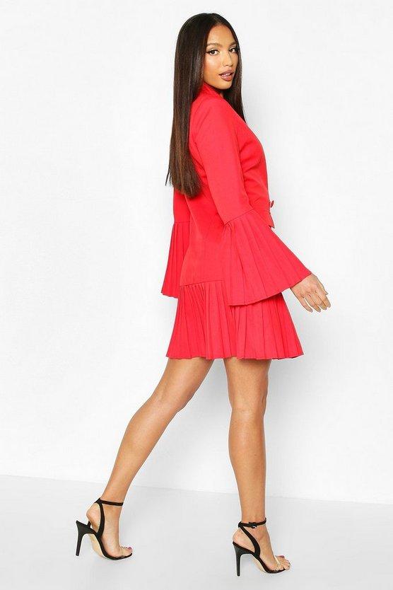 Pleated Hem & Sleeve Blazer Dress