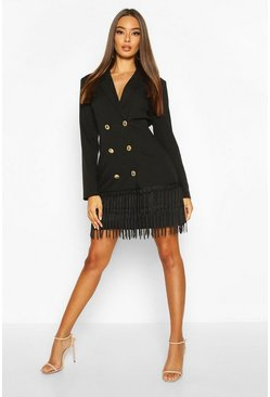 Black Oversized Tassle Blazer Dress