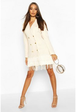 Womens Stone Oversized Tassle Blazer Dress
