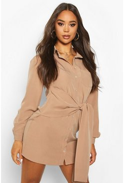 Stone Woven Tie Front Shirt Dress