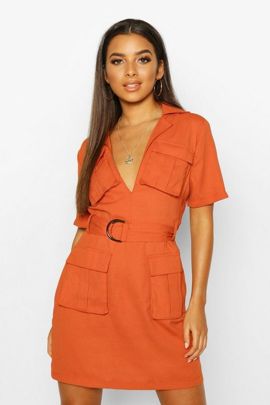 Terracotta Woven Double Pocket Belted Utility Dress