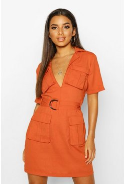 Womens Terracotta Woven Double Pocket Belted Utility Dress