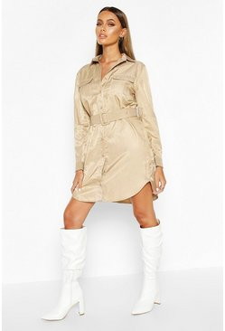 Womens Stone Woven Contrast Stitch Belted Shirt Dress