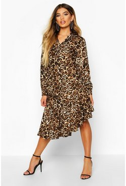 Womens Natural Woven Leopard Asymetric Hem Shirt Dress