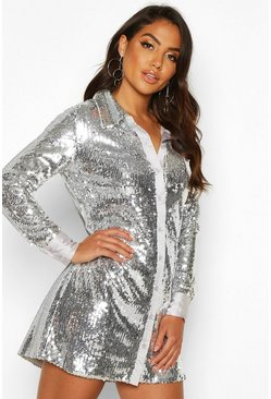 Silver Full Sequin Satin Trim Oversized Shirt Dress