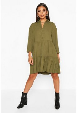 Womens Khaki Woven Tierred Utility Shirt Smock Dress