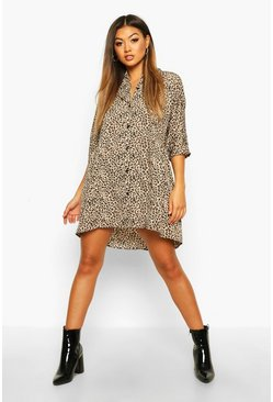 Womens Natural Leopard Button Through 3/4 Sleeve Smock Dress