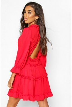 Womens Red Woven Ruffle Trim Skater Dress