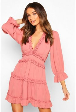 Rose Woven Ruffle Trim Skater Dress