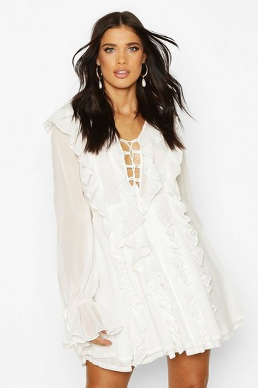 White Mesh Extreme Ruffle Tie Front Skater Dress