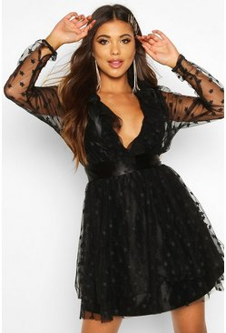 Black Star Embroided Mesh Skater Dress