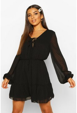 Womens Black Woven Dobby Mesh Tie Detail Skater Dress