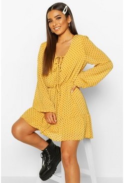 Womens Mustard Woven Dobby Mesh Tie Detail Skater Dress
