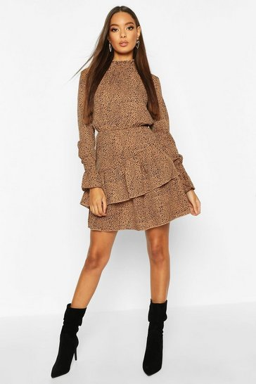 Womens Stone Woven Sheered Neck Ruffle Detail Skater Dress