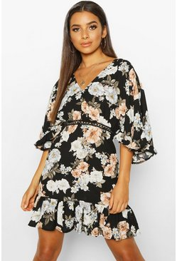 Womens Black Woven Floral Ruffle Mini Dress