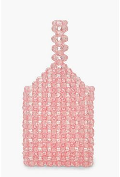Womens Pink Mini Beaded Bottle Bag