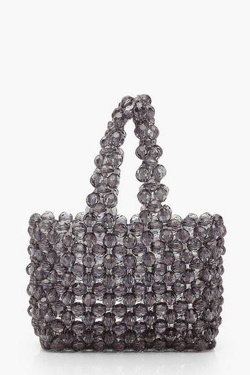 Womens Black Mini Beaded Shopper Bag