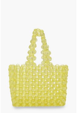 Yellow Mini Beaded Shopper Bag
