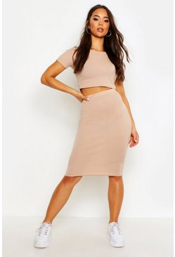 Womens Taupe Rib T-Shirt And Midi Skirt Co-ord