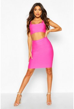 Bright pink Bandage Midi Skirt